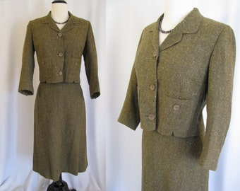 Vintage 1950s - 60s Wool Suit -  Daytons Oval Room Davidow Suit - Jacket and Skirt - Size XS