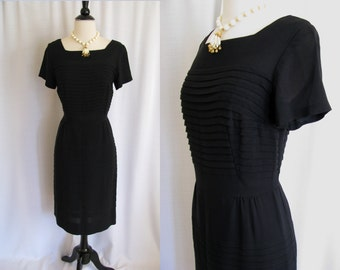 1960s Dress - GLORIA SWANSON - Forever Young Black - Wiggle - Size Medium