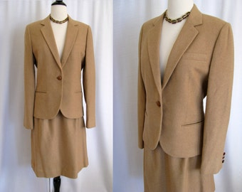 Vintage 1960s Camel Hair Daytons Department Store Oval Room Suit Jacket & Skirt  Size S Small