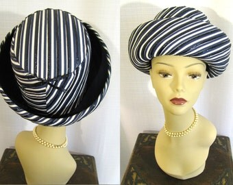 Vintage 1960s Oleg CASSINI Navy and White Striped Bowler Hat