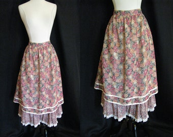 Vintage 1970s Peasant Skirt - Floral Skirt with Ruffles and Lace - Size Medium