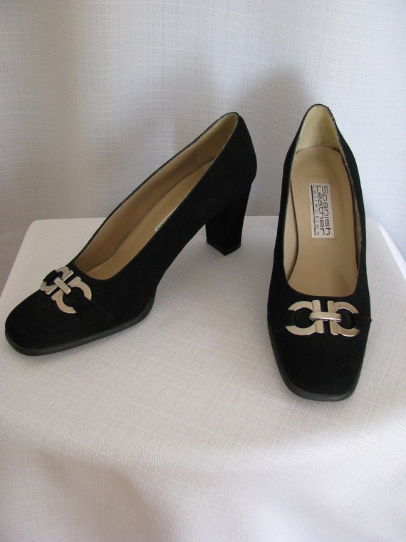 SALE - Vintage Spanish Collection by Sergio Zelcer Black Suede High Heel Shoes Size 9