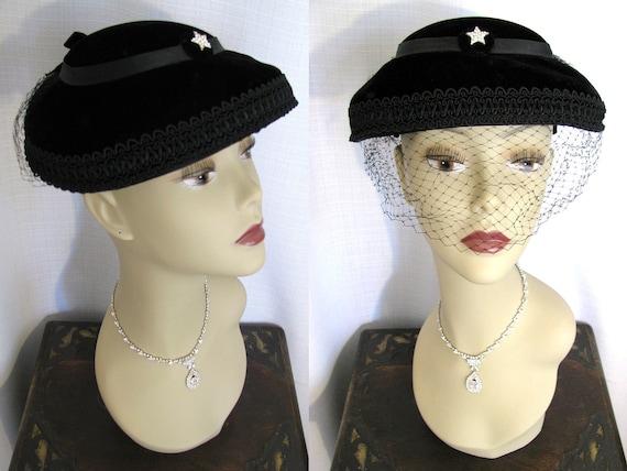 SALE - Vintage MARTHA GENE 1950s  Black Velvet Hat with Rhinestone Star Accent