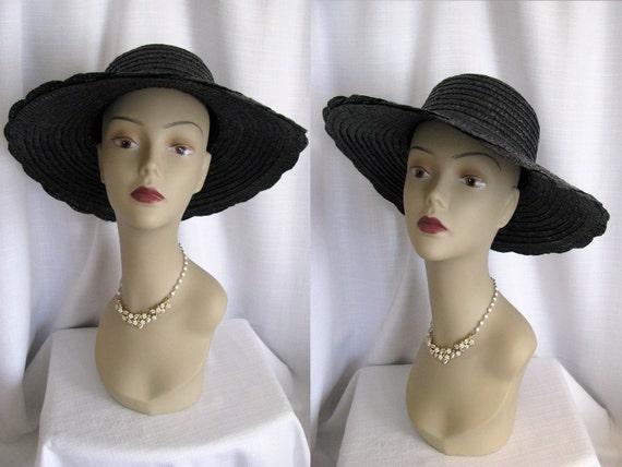 Vintage Betmar Made in Italy Black Wide Brim Straw Hat