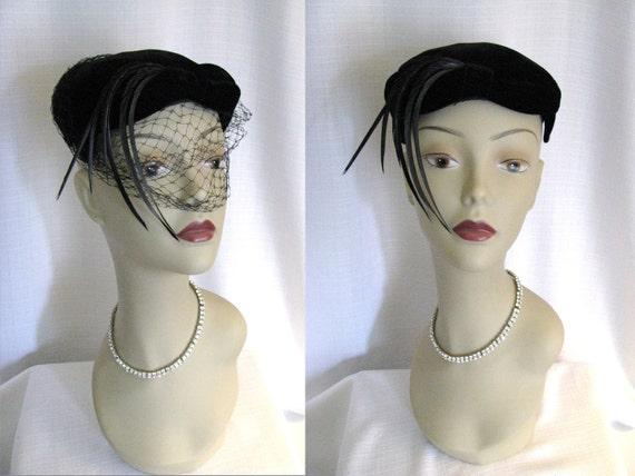 SALE - Vintage 1950s Black Velvet Hat with Feathers, Rhinestones, and Veil
