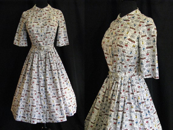 Vintage 1940s Feed Sack Dress With Fruit Print Cotton Full