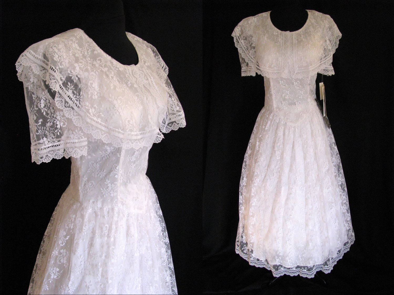 SALE Vintage 1980s Jessica McClintock Gunne Sax White Lace