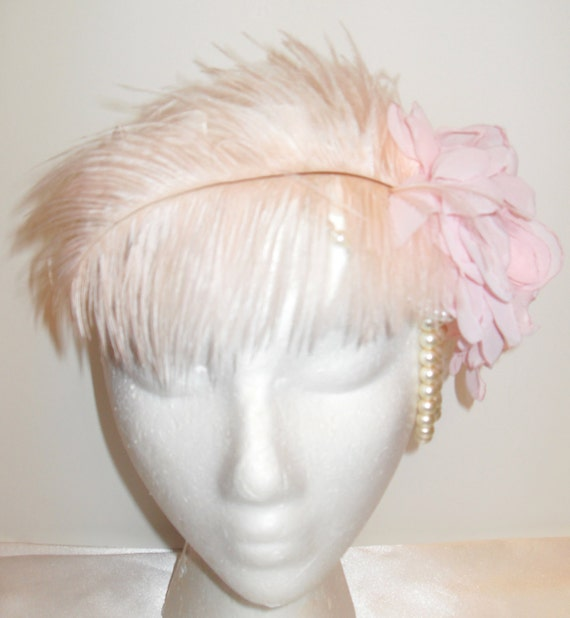 Pale Pink 1920s Flapper Inspired Bridal Headpiece - Fascinator - Feather, Chiffon Flowers, Pearls, & Pleated Ribbon on Headband