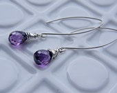 Amethyst Cubic Zirconia Briolette - - Wire Wrapped Sterling Silver Earrings