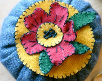 Folk Art Flower Pin Cushion