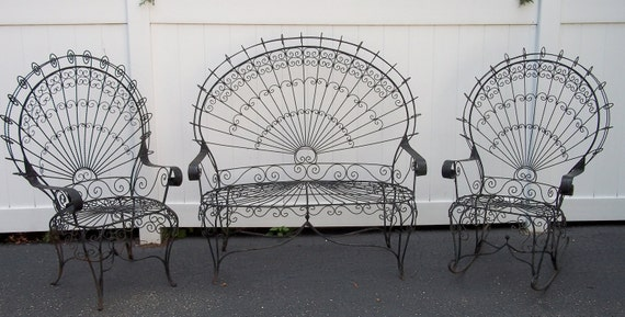 Items Similar To SALE Vintage Victorian Wrought Iron Lawn