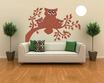 Vinyl Wall Decal  - Owls in Trees