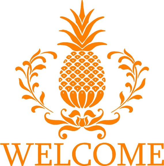 Vinyl Wall Decal  -  Welcome.......(pineapple)