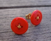 Tomato Red Button Earrings