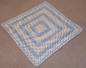 Crochet Baby Blanket, Granny Square Baby Boy Afghan, Blue & Cream