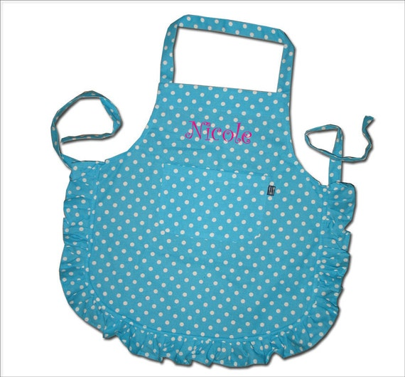 Girls Apron Personalized gift 4-10Y Name Custom Embroidery Polka Dots Personalized clothing