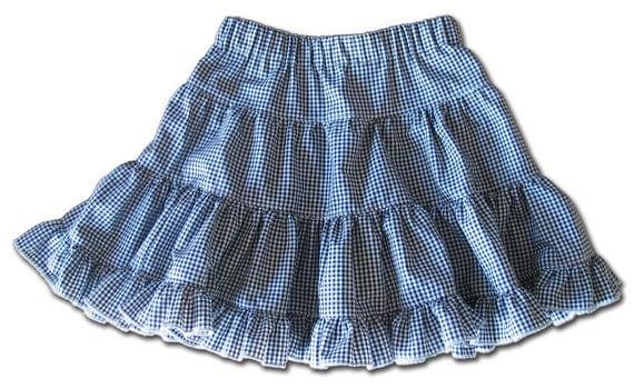 Tiered Skirt Girls Black White gingham sz 5Yrs 6Y European Euro Farbenmix