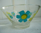 Retro Flow Power 60s 70s Turquoise and Lime Green Bowl