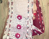 Crocheted Scarf: White, purple for all seasons for women - free shipping