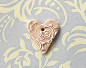 RESERVED FOR MARTAJOAN....Handmade Textured Ceramic Heart Pendant in Pale Pink