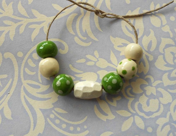 Handmade Ceramic Beads Set in Rich Pea Green and Cream