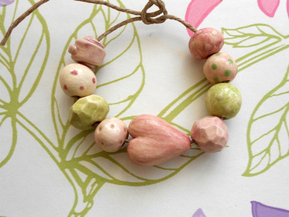 Handmade Ceramic Beads with Heart in Polka Dot Pastel Pinks and Green