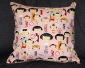Japanese doll throw pillow cushion with plain pink back