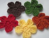 Flower Appliques, Crochet, Fall set