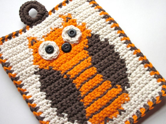 Owl Pot Holder Crochet Wall Hanging Fall Brown Orange
