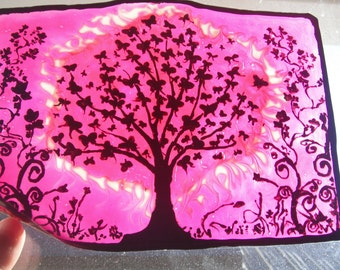 Butterfly Tree  Stain Glass Cling Made to Order