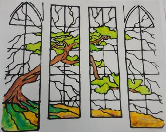 Stain Glass Tree Panels   Window  Cling Made To Order 8x7