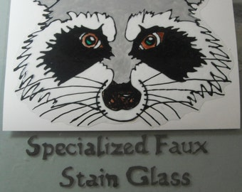 Raccoon Stain Glass  Window Art Clings   Made to Order
