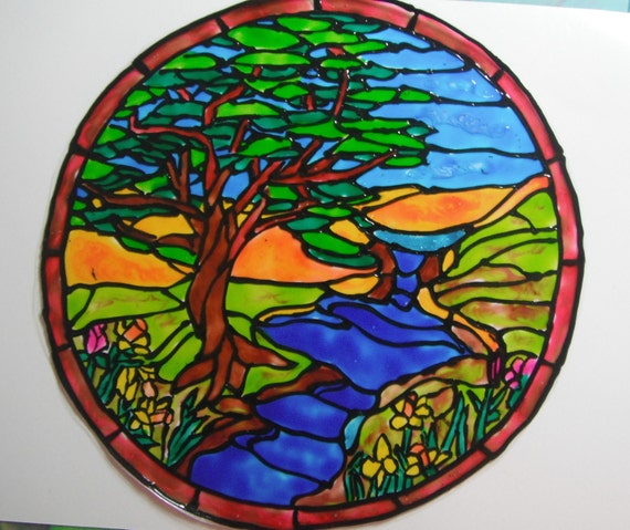 Stain Glass Tree and Creek Mandela  Window Cling