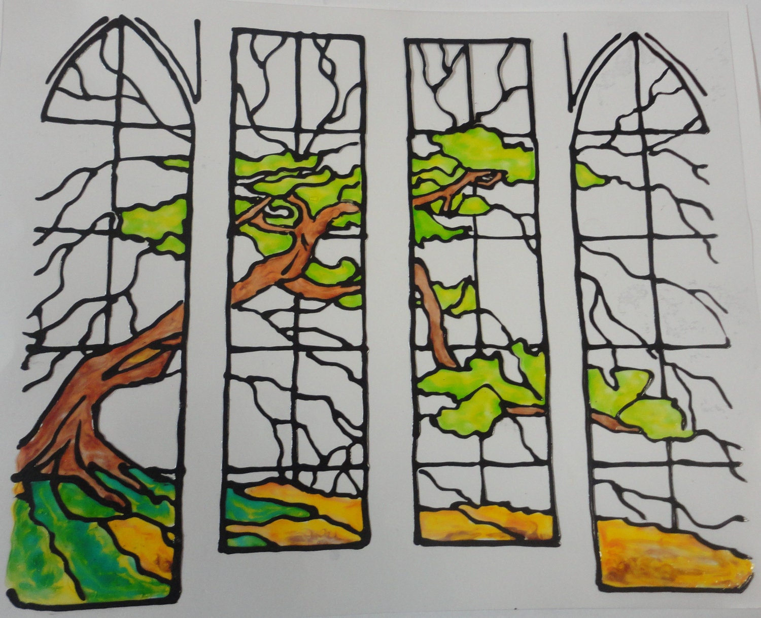 stain glass tree panels window cling made to order 8x7. Black Bedroom Furniture Sets. Home Design Ideas