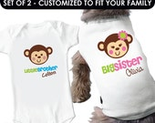 Happy Monkey Big Sister Dog Shirt & Monkey Little Brother Shirt - 2 Personalized Sibling Shirts