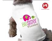 Elephant Big Sister Dog Shirt - Personalized Dog Shirt