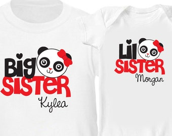 Panda Big Sister Shirt & Panda Little Sister Shirt - 2 Personalized Sibling Shirt