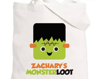 Personalized Trick or Treat Halloween Bag - Personalized Frankenstein Tote Bag - Halloween Trick or Treat Tote Bag - Halloween Candy Bag