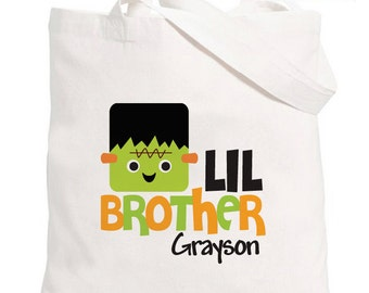 Trick-or-Treat Halloween Bag - Personalized Frankenstein Lil Brother Tote Bag - Halloween Candy Bag - Trick or Treat Bag