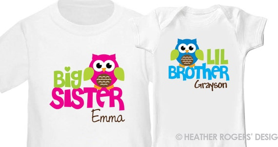 Owl Big Sister Shirt & Owl Little Brother Shirt or Bodysuit - 2 Personalized Sibling Shirts