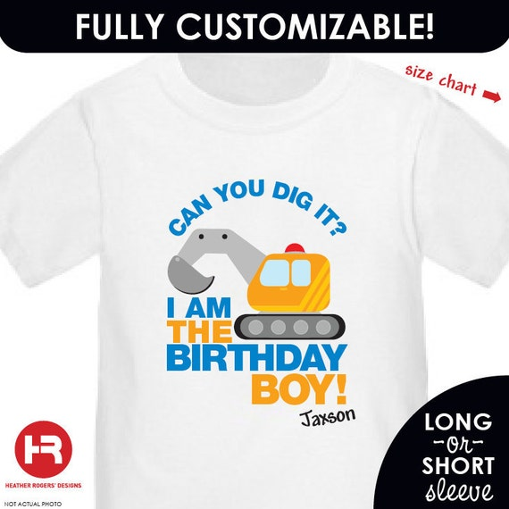 Construction Digger Birthday Shirt or Bodysuit -- Personalized with child's name