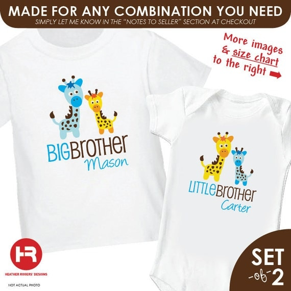Giraffe Big Brother Shirt & Giraffe Little Brother Shirt or Bodysuit - 2 Personalized Matching Brother Shirts - Baby Shower Gift