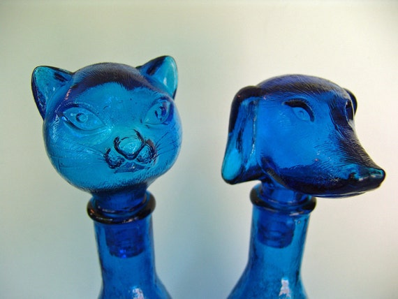 Blue Glass Dachshund Dog Cat Decanter Bottle Set
