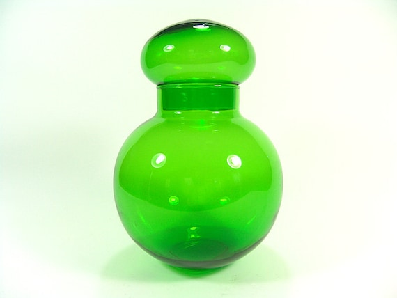 Vintage Green Round Glass Decanter Jar with Top