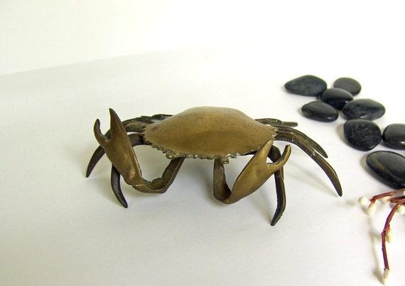 Brass Metal Crab Trinket Tray
