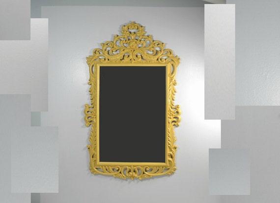 Vintage Large Rectangle Ornate Yellow Mirror Frame