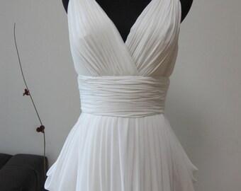 Grecian White Chiffon Wedding Dress