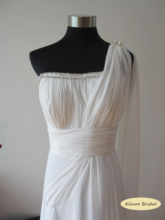 Athena grecian style white chiffon wedding dress for Grecian chiffon wedding dress