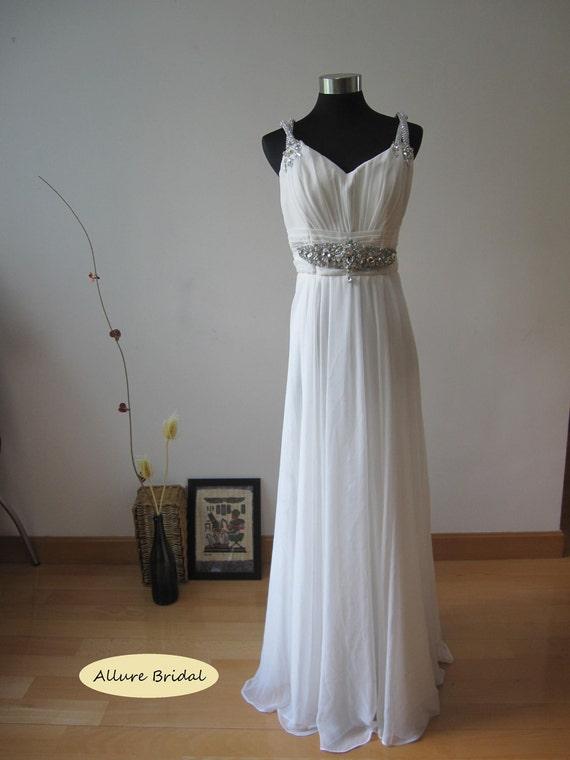 Stunning Spaghetti Straps White Chiffon Wedding Dress