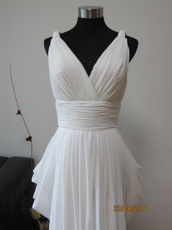 grecian white chiffon wedding dress by allurebridal on etsy
